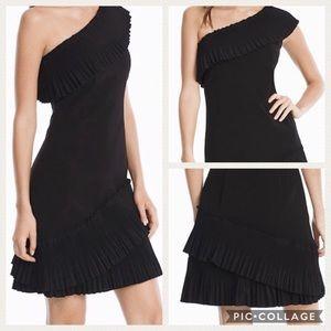 NWT White House Black Market Pleated Ruffle Dress